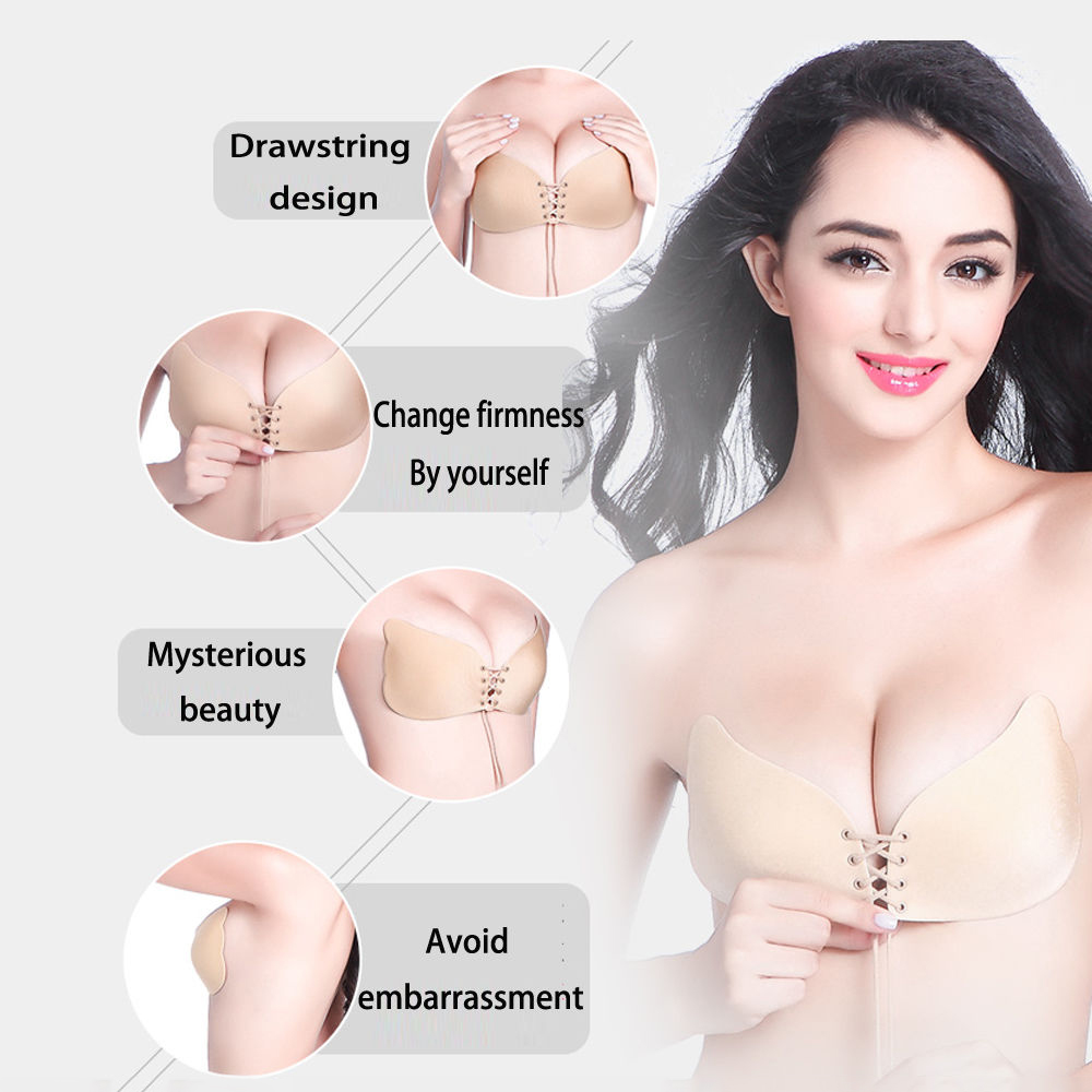 Silicone push up strapless backless self adhesive gel for Best adhesive bra for wedding dress