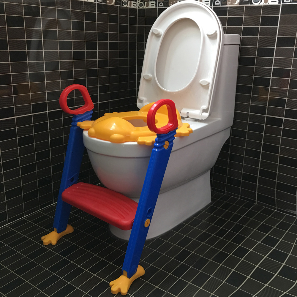 kids potty training seat with step stool ladder for child toddler toilet chair ebay. Black Bedroom Furniture Sets. Home Design Ideas